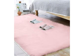 (0.7m x 1.5m, Pink) - Carvapet Luxury Soft Faux Sheepskin Fur Area Rugs for Bedside Floor Plush Mat Sofa Cover Seat Pad for Living Room Bedroom, 0.7m x 1.5m,Pink