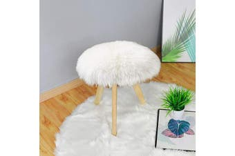(0.4m Diameter, White) - Carvapet Soft Round Faux Sheepskin Fur Area Rugs Plush Chair Cover Seat Pad for Bedroom and Living Room, 0.4m Diameter, White