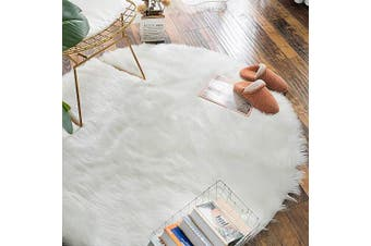 (1.2m Diameter, White) - Carvapet Luxury Soft Round Faux Sheepskin Fur Area Rugs Chair Cover for Bedroom and Living Room, 1.2m Diameter, White