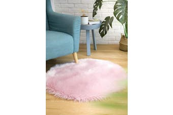 (3*0.9m Round, Pink) - CIICOOL Soft Faux Sheepskin Fur Area Rugs Fluffy Rugs for Bedroom Silky Fuzzy Carpet, Furry Rug for Living Room Girls Rooms, Pink Round 0.9m x 0.9m