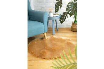 (3*0.9m Round, Light Brown) - CIICOOL Soft Faux Sheepskin Fur Area Rugs Fluffy Rugs for Bedroom Silky Fuzzy Carpet, Furry Rug for Living Room Girls Rooms, Khaki Round 0.9m x 0.9m