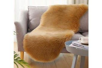 (2*1.8m Sheepskin, Light Brown) - Ultra Soft Faux Sheepskin Fur Rug Fluffy Rug for Bedroom Fuzzy Carpet for Living Room Kid's Room Nursery Decor, Khaki 0.6m x 1.8m, Ciicool