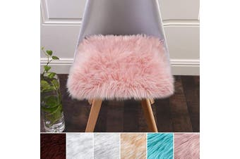 (Pink) - Softlife Square Faux Fur Sheepskin Chair Cover Seat Cushion Pad Super Soft Area Rugs for Living Bedroom Sofa (0.5m x 0.5m, Pink)