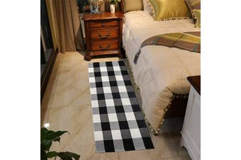 """(60cm ×90cm +60cm ×130cm , A-buffalo Check) - Homcomoda Kitchen Mats and Rugs Buffalo Plaid Chequered Area Rug Cotton Black and White Hand-Woven Floor Rugs for Living Room Bedroom Carpet (24"""" x 35"""" + 24"""" x 51.2"""")"""