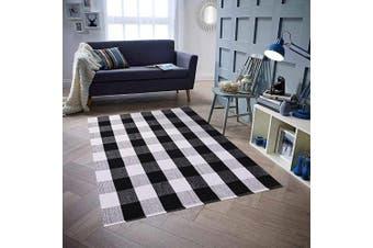 (1.5m×2.1m, A-buffalo Check) - Homcomoda Cotton Plaid Chequered Area Rug 1.5mX2.1m Hand Braided Floor Rug Runner Washable Carpet for Living Room(Plaid-Black and White)