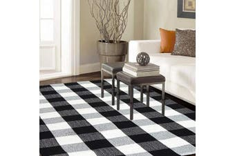(90cm  x 150cm , A-buffalo Check) - Homcomoda Area Rug Cotton Plaid Chequered Rugs 90cm x 150cm Black and Cream White Mat Hand Made Braided Floor Mats Runner Rugs Washable Carpet for Living Room Bedroom.