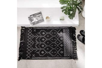(0.6m x 0.9m, Black) - Boho Bathroom Rug, Black White Bath Mat, Woven Cotton Small Throw Rug 0.6mx0.9m, Tassel Rug for Kitchen Laundry Doorway Bedroom