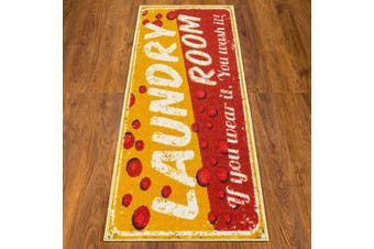 (50cm  x 150cm , Yellow/Red) - Ottomanson Laundry Collection Runner Rug, 50cm x 150cm , Yellow/Red