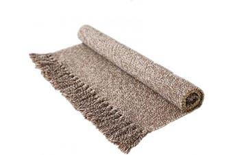 (60cm  x 90cm , Light Coffee) - USTIDE Hand Woven Braid Rug Brown & White Cotton Reversible Rug 60cm x 90cm Washable Bathroom Outdoor Porch Rug Doormat