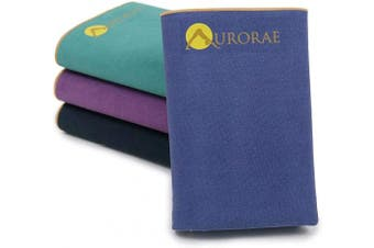 (Sapphire) - Aurorae Synergy Foldable On-The-Go Yoga Mat; A Yoga Mat for Yogis on The Move with Integrated Microfiber Towel and Anti-Slip Patented Synergy 2-in-1 Technology