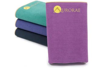 (Amethyst) - Aurorae Synergy Foldable On-The-Go Yoga Mat; A Yoga Mat for Yogis on The Move with Integrated Microfiber Towel and Anti-Slip Patented Synergy 2-in-1 Technology