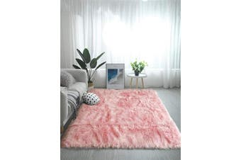 (0.9m x 1.5m, Pink) - OJIA Deluxe Soft Fuzzy Fur Rugs Faux Sheepskin Shaggy Area Rugs Fluffy Modern Kids Carpet for Living Room Bedroom Sofa Bedside Decor (0.9m x 1.5m,Pink)