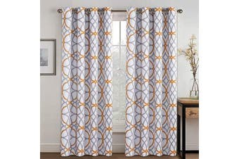 (130cm W x 210cm L, Mustard & Grey) - H.VERSAILTEX Geometry Line Darkening Mustard and Grey Window Curtain Panel Set for Living, Dining Room, Bedroom, Home Fashion Thermal Window Curtains for Hall Room (1 Pair, 130cm by 210cm )