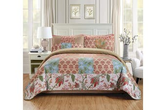 (King/California King, Valencia) - Fancy Linen 3pc King/California King Quilt Bedspread Set Over Size Bed Cover Squares Floral Beige Blue Rust Taupe Green White New