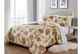 (King/California King, Jane) - Fancy Collection 3 Pc King/California King Quilted Bedspread Floral Print Beige Taupe Blue Red Over Size New