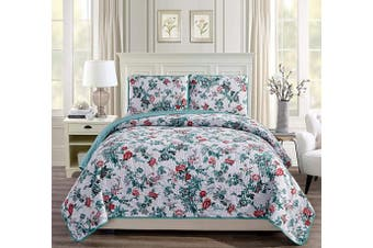 (King/California King, Hawaii) - Fancy Linen 3pc King/California King Bedspread Quilt Set Over Size Bed Cover with Flowers Teal Green Pink Red White New