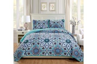 (Full/Queen, Turquoise) - Fancy Linen 3pc Full/Queen Bedspread Quilt Set Over Size Bed Cover with Flowers Pink/Red Light Pink Turquoise Navy Blue White (Sophia Turquoise, Full/Queen)