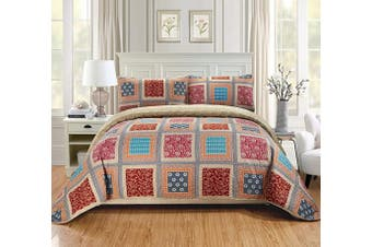 (King/California King, Bailey) - Fancy Linen 3pc King/California King Quilt Bedspread Set Over Size Bed Cover Squares Floral Taupe Brown Blue Red New