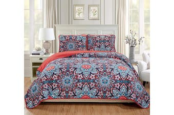 (King/California King, Pink/Red) - Fancy Linen 3pc King/California King Bedspread Quilt Set Over Size Bed Cover with Flowers Pink/Red Light Pink Turquoise Navy Blue White New
