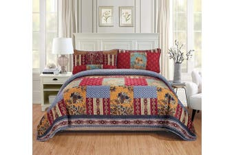 (Full/Queen, Verona) - Fancy Linen 3pc Full/Queen Quilt Bedspread Set Over Size Bed Cover Squares Floral Taupe Red Burgundy Navy Blue New