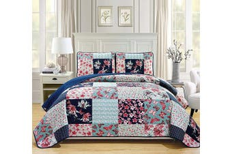 (King/California King, Stella) - Fancy Linen 3pc King/California King Oversize Quilted Bedspread Coverlet Set Floral Butterfly Navy Blue Off White Teal Green Pink New