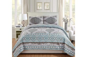 (King/California King, Samantha) - Fancy Linen 3pc King/California King Quilted Coverlet Bedspread Set Floral Grey Aqua Blue Taupe White New