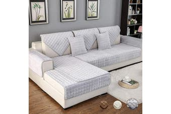 (90cm  x 120cm  (Rectangular), Flannel/Grey) - OstepDecor Couch Cover, Sofa Cover, Quilted Sectional Couch Covers, Velvet Sofa Slipcover for Dogs Cats Pet Love Seat Recliner Leather L Shaped, Armrest Backrest Cover, Grey 90cm x 120cm