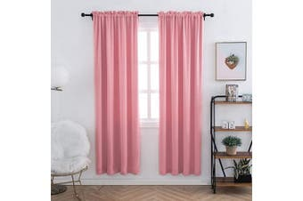 (100cm  x 180cm , Pink) - Anjee Blackout Curtains Panels for Living Room - Noise Reducing Thermal Insulated Rod Pocket Top Blackout Window Drapes (2 Panels, 100cm x 180cm , Pink)