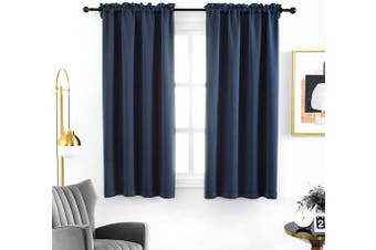 (100cm  x 180cm , Navy Blue) - Anjee Blackout Curtain Room Darkening Thermal Insulated Curtains Rod Pocket Window Curtain for Bedroom Black 100cm x 180cm 2 Panels, Navy Blue