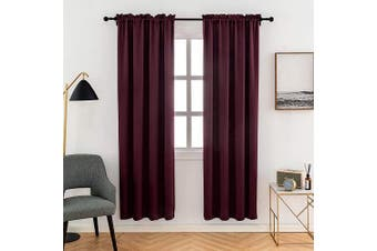(100cm  x 180cm , Red) - Anjee Plain Solid Curtains Thermal Insulated Blackout Curtains for Bedroom 100cm x 180cm (2pcs,Red)