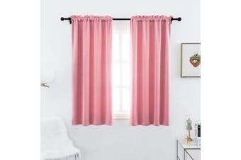 (100cm  x 110cm , Pink) - Anjee Blackout Curtains Panels for Girls Room - 3 Pass Microfiber Noise Reducing Thermal Insulated Rod Pocket Top Blackout Window Drapes (2 Panels, 100cm x 110cm , Pink)