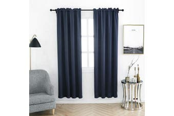 (100cm  x 210cm , Navy Blue) - Anjee Blackout Curtain Room Darkening Thermal Insulated Curtains Rod Pocket Window Curtain for Bedroom 100cm x 210cm 2 Panels, Navy Blue