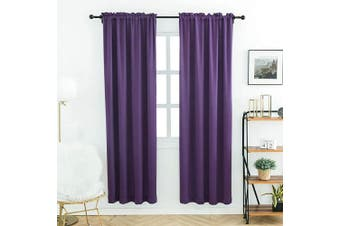 (100cm  x 180cm , Purple) - Anjee Plain Solid Curtains Thermal Insulated Blackout Curtains for Bedroom 100cm x 180cm (2pcs,Purple)