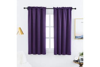 (100cm  x 110cm , Purple) - Anjee Blackout Curtains and Drapes - Triple Weave Energy Saving Thermal Insulated Rod Pocket Top Blackout Panels for Small Windows (1 Pair, 100cm by 110cm , Purple)