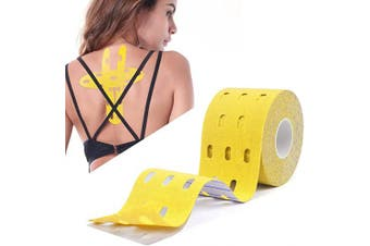 (Brethable Hole, Yellow) - Atemto Kinesiology Tape, Athletic Sports Tape Elastic Tape 100% Cotton 5.1cm x 4.9m Roll Uncut Waterproof Breathable for Muscle Support Pain Relief