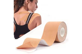 (No Hole, Nude) - Atemto Kinesiology Tape, Athletic Sports Tape Elastic Tape 100% Cotton 5.1cm x 4.9m Roll Uncut Waterproof Breathable for Muscle Support Pain Relief