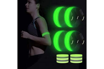 (green) - AivaToba LED Armband, Flashing Armband Running Lights for Runners Men and Women,Reflective Led Safety Armband Light-up Led Bracelet for Jogging, Cycling, Dog Walking Outdoor at Night
