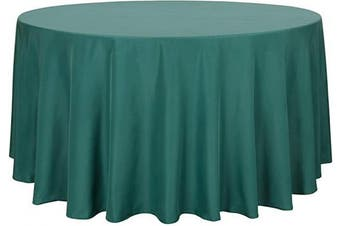 (270cm , Green) - sancua Round Tablecloth - 270cm - Water Resistant Spill Proof Washable Polyester Table Cloth Decorative Fabric Table Cover for Dining Table, Buffet Parties and Camping, Green