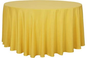 (340cm , Yellow) - sancua Round Tablecloth - 340cm - Water Resistant Spill Proof Washable Polyester Table Cloth Decorative Fabric Table Cover for Dining Table, Buffet Parties and Camping, Yellow