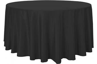 (270cm , Black) - sancua Round Tablecloth - 270cm - Water Resistant Spill Proof Washable Polyester Table Cloth Decorative Fabric Table Cover for Dining Table, Buffet Parties and Camping, Black