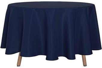 (230cm , Navy) - sancua Round Tablecloth - 230cm - Water Resistant Spill Proof Washable Polyester Table Cloth Decorative Fabric Table Cover for Dining Table, Buffet Parties and Camping, Navy
