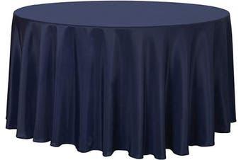 (270cm , Navy) - sancua Round Tablecloth - 270cm - Water Resistant Spill Proof Washable Polyester Table Cloth Decorative Fabric Table Cover for Dining Table, Buffet Parties and Camping, Navy