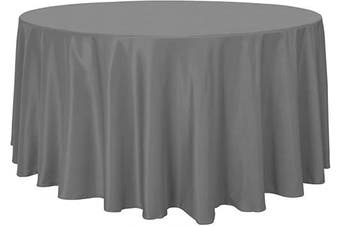(270cm , Light Grey) - sancua Round Tablecloth - 270cm - Water Resistant Spill Proof Washable Polyester Table Cloth Decorative Fabric Table Cover for Dining Table, Buffet Parties and Camping, Light Grey