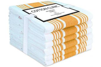 (Mustard Yellow White) - Cotton Clinic Set of 6 Extra Large 18x28 Farmhouse Stripe Kitchen Dish Bar Tea and Cleaning Towels with Hanging Loop, Mustard Yellow White