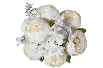 (Spring White) - Luyue Vintage Artificial Peony Silk Flowers Bouquet Home Wedding Decoration (Spring White)