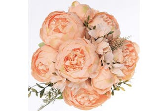 (Spring Orange) - Luyue Vintage Artificial Peony Silk Flowers Bouquet Home Wedding Decoration (Spring Orange)