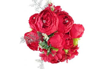 (Red) - Luyue Vintage Artificial Peony Silk Flowers Bouquet Home Wedding Decoration (Red)