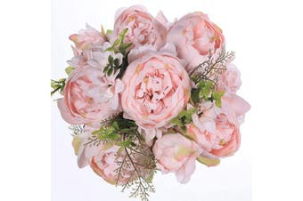 (Spring Peach Pink) - Luyue Vintage Artificial Peony Silk Flowers Bouquet Home Wedding Decoration (Spring Peach Pink)