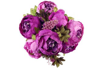(Purple Bud) - Luyue Vintage Artificial Peony Silk Flowers Bouquet Home Wedding Decoration (Purple Bud)