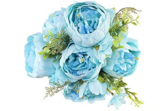 (Blue) - Luyue Vintage Artificial Peony Silk Flowers Bouquet Home Wedding Decoration (Blue)